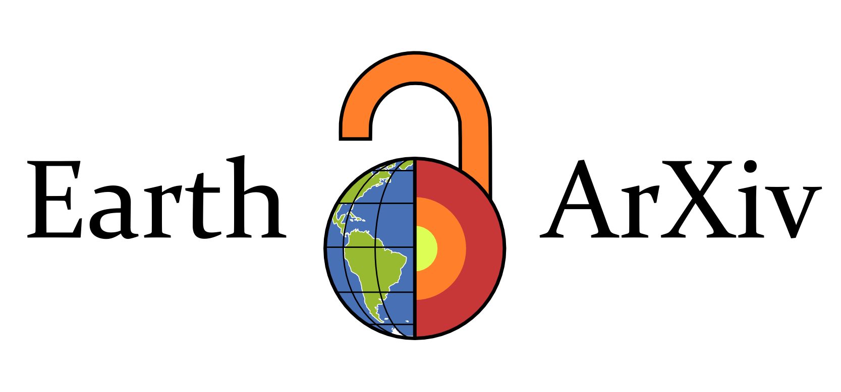EarthArxiv logo. An open orange lock with blue and green earth surrounded by the text Earth ArXiv